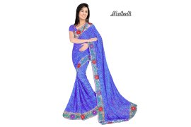 Fashioniests Blue Color Embroidered Chiffon Sari - Myanmar Online Shopping