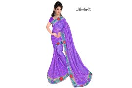 Fashioniests Purple Color Embroidered Chiffon Sari - Myanmar Online Shopping