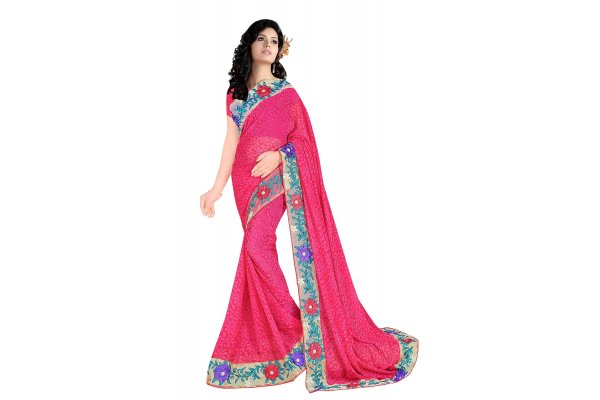 Fashioniests Red Color Embroidered Chiffon Sari