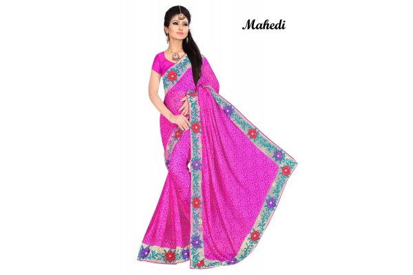 Fashioniests Pink Color Embroidered Chiffon Sari