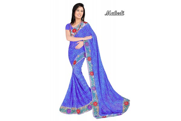 Fashioniests Blue Color Embroidered Chiffon Sari