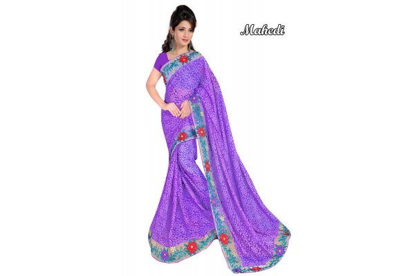 Fashioniests Purple Color Embroidered Chiffon Sari