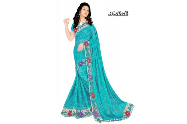 Fashioniests Sea Green Color Embroidered Chiffon Sari